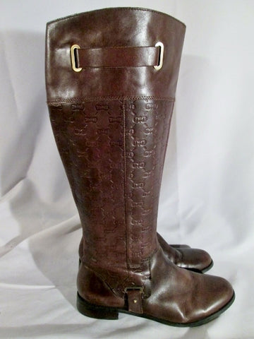 Womens ETIENNE AIGNER GILBERT Leather Moto Rocker BOOTS BROWN 9.5 Riding