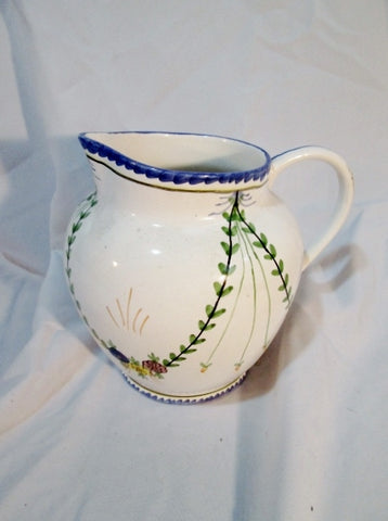 NEUWIRTH PORTUGAL Hand Painted Ceramic PITCHER Jug WHITE Blue Floral Pottery