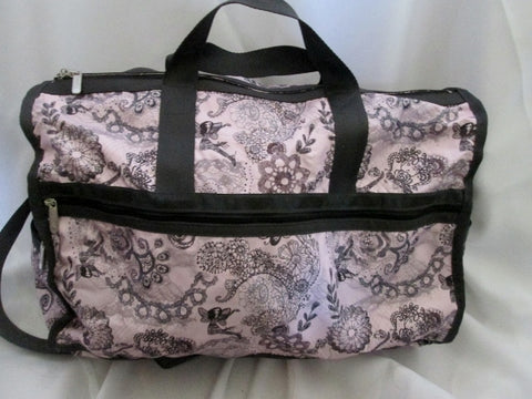 LeSPORTSAC Duffle Travel Carry-On Overnighter Luggage Bag PINK FAIRY FLORAL Black
