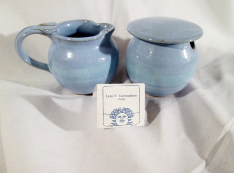 NEW LYNN CUNNINGHAM STONEWARE POTTERY Set Sugar Bowl Pitcher PURPLE LAVENDER Ceramic