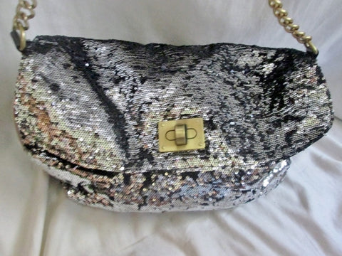 CESCA LONDON vegan sequin satchel shoulder flap bag purse SILVER BLACK L Glam