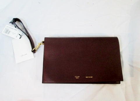 NEW CELINE PARIS STRAP CLUTCH BURGUNDY Italy Leather Wristlet Purse Bag