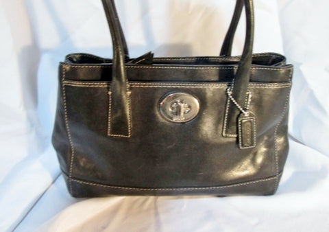 COACH F13675 HAMPTON Leather Tote SHOULDER BAG Satchel BLACK Turnlock