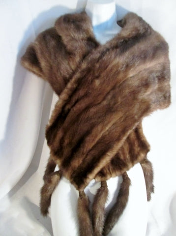 Vintage MAX AUSTER ITALY Genuine MINK FUR SCARF Stole Neck SHAWL Tail Fringe BROWN WOW!