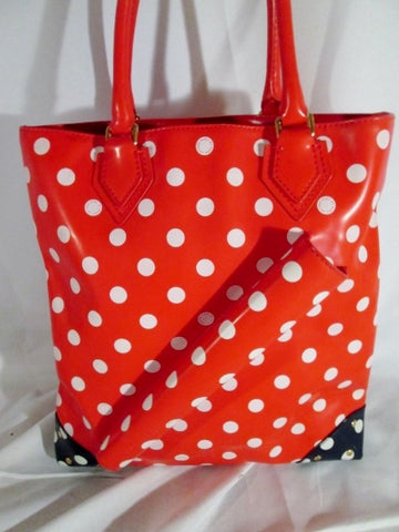 MARC JACOBS POLKA DOT Tote Shoulder Bag Carryall  XL BLUE RED DOT Shopper Stud