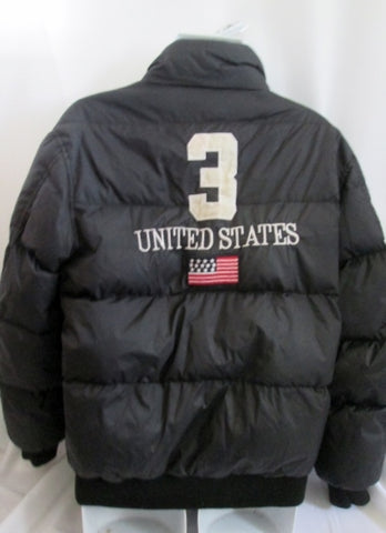 Mens RALPH LAUREN RL POLO SPORT Down JACKET Coat Puffer BLACK M PATCH FLAG USA