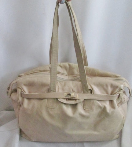 ANDRE CELLINI ITALY LEATHER Duffel Bag Travel Carry-On Overnighter BEIGE TAN Weekender BROWN