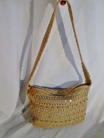 NEW THE SAK Hobo Shoulder Bag Handbag Macrame Knit Sequin BEIGE TAN BEAD