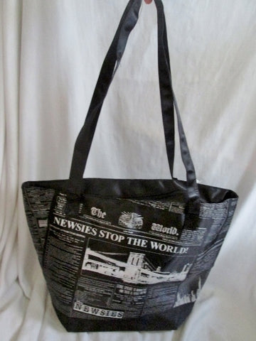 NEW NWT THE WORLD Newspaper NEWSIES TOTE Bag Vegan SHOPPER BLACK Market