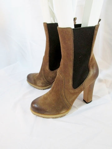 EUC Womens PRADA ITALY Suede Leather Bootie Ankle Boot BROWN 36.5 6 Heel Shoe