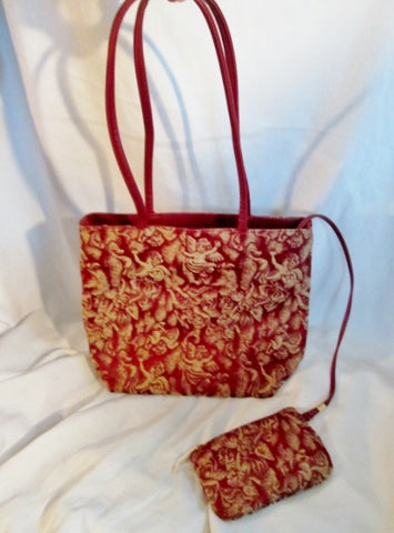 NEW BROCADE ANGEL Tapestry Carpet Floral Tote Bag Carryall Vegan RED + Wallet Purse