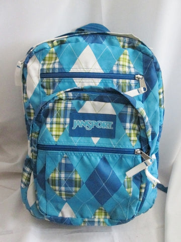 JANSPORT Travel Book BAG Backpack Rucksack Bag School PLAID ARGYLE BLUE Daytripper