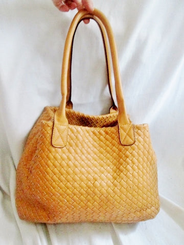 Vegan Woven Faux Leather Shoulder Bag Purse Tote Satchel GOLDENROD DIJON YELLOW