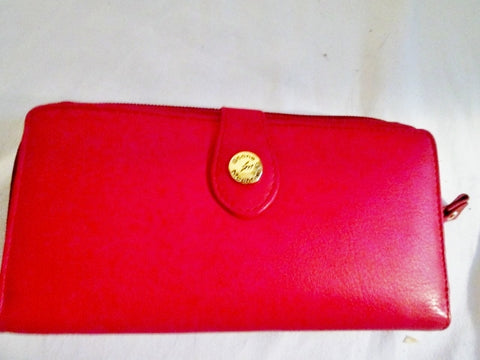 NEW STONE MOUNTAIN LEATHER Continental ZIP Wallet Organizer RED CHERRY