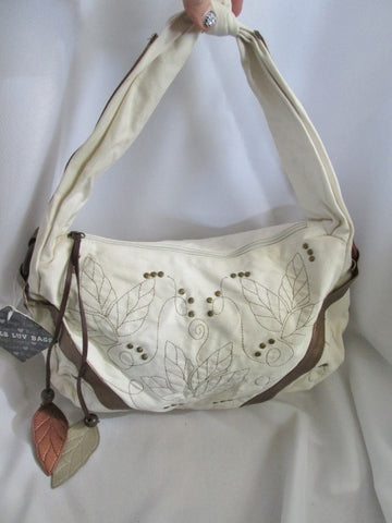 NEW GURLS LOVE BAGS Vegan Hobo Shoulder Handbag Satchel Purse WHITE GOLD Leaf