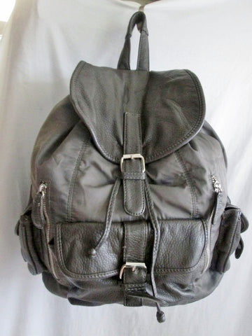 DEUX LUX Faux Leather BACKPACK Shoulder Rucksack Travel Book BAG GRAY Vegan Charcoal