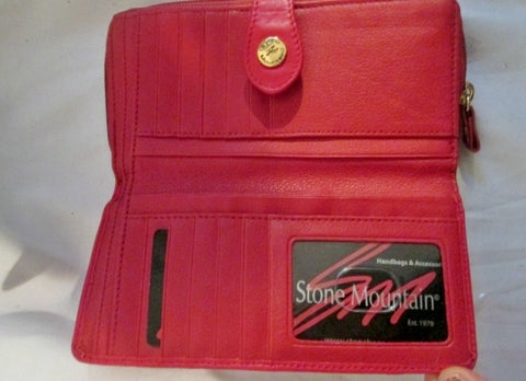 New Stone Mountain Leather Continental Zip Wallet Organizer Red