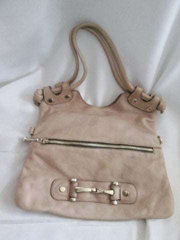 GG BOSS USA Soft Leather Shoulder Bag Foldover Tote TAUPE BROWN Horsebit