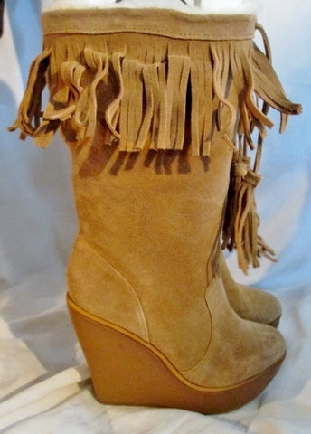NEW Womens JESSICA SIMPSON Suede Leather Fringe Boots TAUPE BROWN 9.5 Boho Wedge Heel Hippie