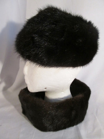 Vintage MADE IN USA Genuine MINK Fur Hat Cap + Stole Collar Scarf S BROWN BLACK Beanie Cosplay