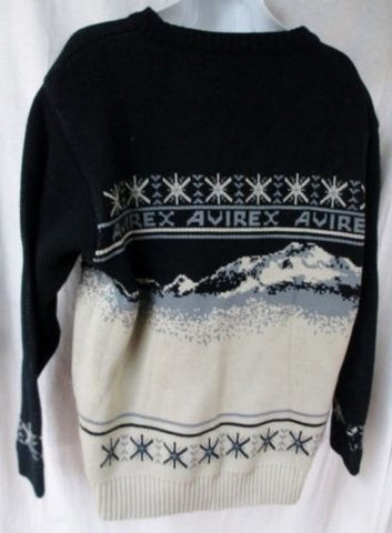 Mens AVIREX Winter Holiday Christmas Knit Ski Sweater DOGSLED IDITAROD GRAY M