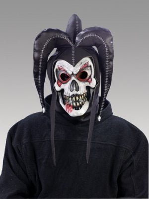 EVIL JESTER MASK BLACK COSTUME SATANIC HALLOWEEN CLOWN Party Disguise Scary Twisted