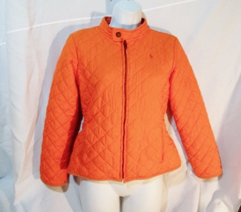 Girls RALPH LAUREN QUILTED JACKET Coat L 12/14 ORANGE NEON FLUORESCENT