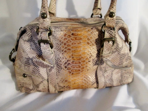 FORTH & TOWNE SNAKESKIN PYTHON Leather HARNESS Tote Bag Satchel Purse BEIGE
