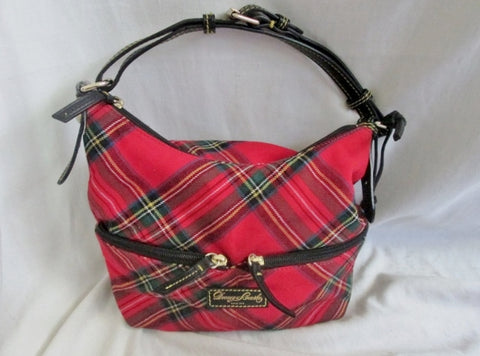 DOONEY & BOURKE Plaid Leather Tartan Satchel Hobo Shoulder Bag RED Hipster