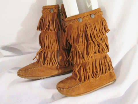 Girls MINNETONKA Suede Fringe Ankle Boots Booties Moccasin Hippie BROWN Shoes 1
