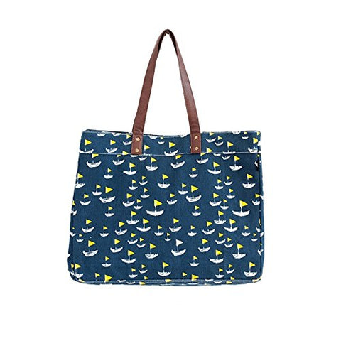 NEW NWT MAIKA DEAUVILLE VERTICAL MARKET TOTE Bag NAUTICAL BLUE SAILBOAT Vegan