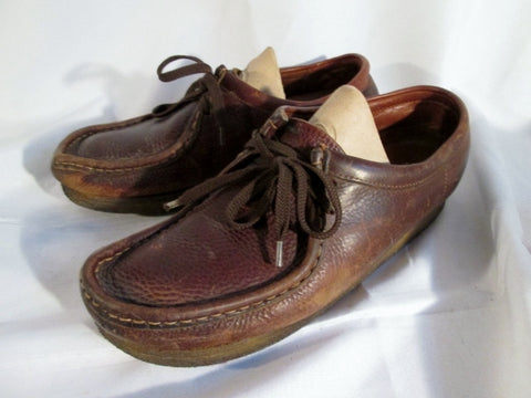 Womens CLARKS ORIGINALS WALLABEE Leather Shoes Loafers BROWN 10 Lace Up