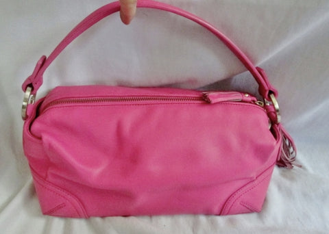 NEW ANN TAYLOR Leather Hobo Handbag Satchel Purse PINK Fringe Tassel Clutch