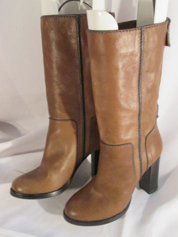 Womens CHLOE Italy LEATHER Ankle BOOTS Booties BROWN 37 / 6.5 Patchwork Stitch