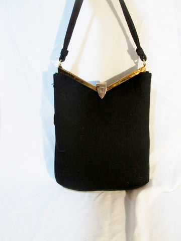 NWT NEW Vintage MEL-TON BAGS CASHMERE pyramid satchel purse bag BLACK clutch