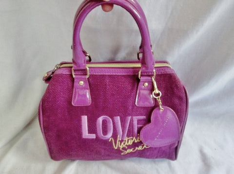NEW VICTORIA'S SECRET LOVE MINI Duffle Satchel VEGAN Clutch PURPLE Bag Bowler