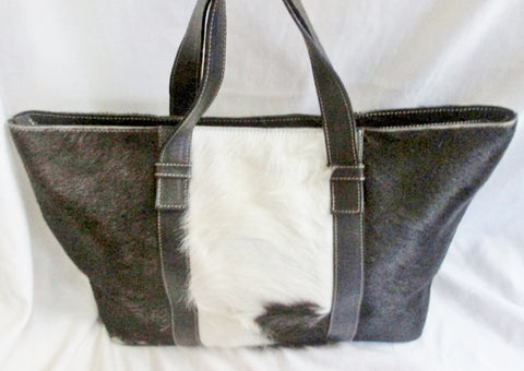 LEATHER PONY COW HAIR FUR BAG Tote Satchel Carryall Purse BLACK WHITE