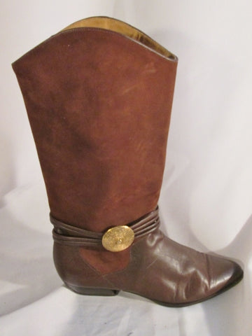 Womens CLUB PREAKNESS Suede Leather Boot BROWN 7 Strappy Gogo Boho