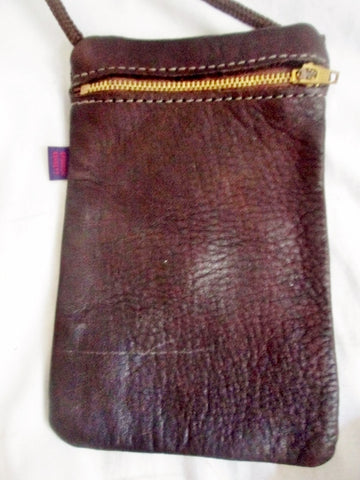 NEW BRANSON BENNETT Wallet Zip Pouch Mini Travel Bag Crossbody Man Purse BROWN