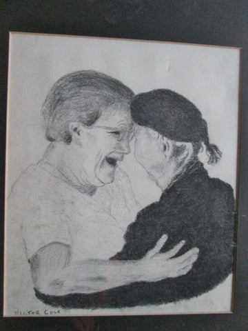 Vintage SIGNED VICTOR COLE LOVE Old Person Grandparent DRAWING Frame Picture ART Pencil