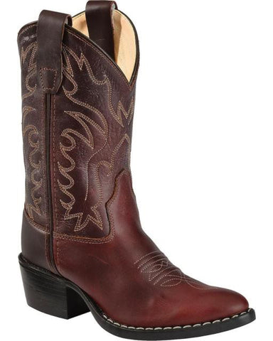 Old West Boys' Oiled Leather Western Cowboy Boot Pointed Toe 8152 BROWN Sz 2