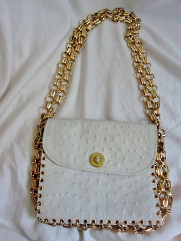Genuine OSTRICH SKIN LEATHER Chainlink shoulder bag flap purse WHITE GOLD Boutique