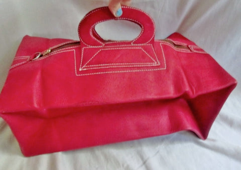Vtg LEATHER Convertible Travel Duffle Boutique Box Travel Bag clutch RED purse case