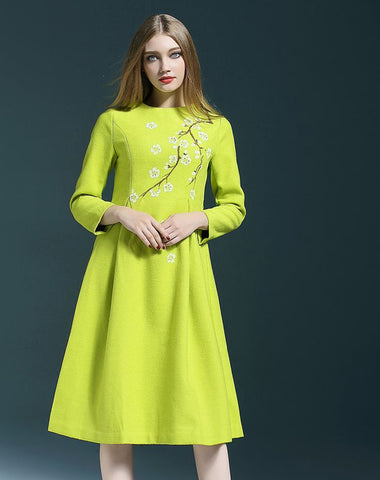 NEW WOMENS QILI Midi Wool dress STYLEWE GREEN FLORAL S Hand Painted AVOCADO