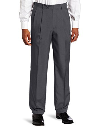 NEW NWT MENS SAVANE SHARKSKIN Pleated PANTS 44 X 30 CHARCOAL GRAY