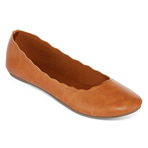 NEW Womens City Streets CARA Scalloped Vegan Ballet Flats Shoes 9.5 BROWN COGNAC