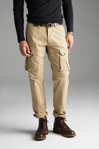 NEW MENS GROWN & SEWN USA FIELD FATIGUE Cargo Pants Jeans 32X34 GHURKA Tan