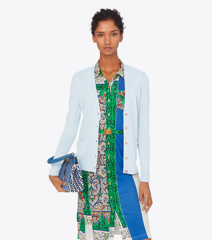 WOMENS TORY BURCH MADELINE CARDIGAN Sweater Top M BLUE $228 POWDER Button Up