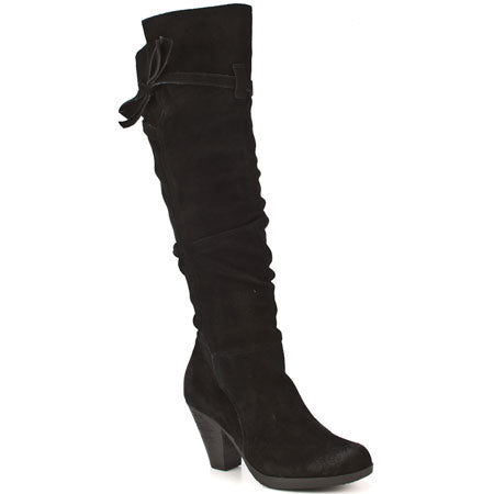 Womens REPORT LASARA Suede Leather Strappy Boho BOOTS 8 BLACK Knee High Slouch