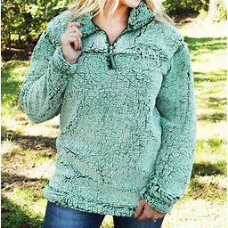 NEW Womens BOXERCRAFT Unisex Sherpa Quarter-Zip Pullover JACKET S GREEN Coat NWT